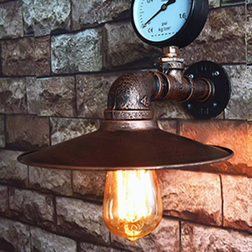 Hot American Vintage Aisle Industrial Water Pipe Wall Lamp Lights Bar Restaurant E27 Edison Retro Wall Lamp<br>