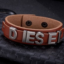 New fashion. Europe and the United States fashion retro leather cowhide bracelet wholesale export FSH005-A light brown(China)