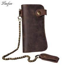 Men's Vintage crazy horse leather chain wallet Genuine leather Bifold long wallet Snap card holder purse zipper coin pocket(China)