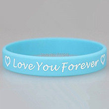 300pcs Debossed Custom love you forever wristband silicone bracelets free shipping by FEDEX express
