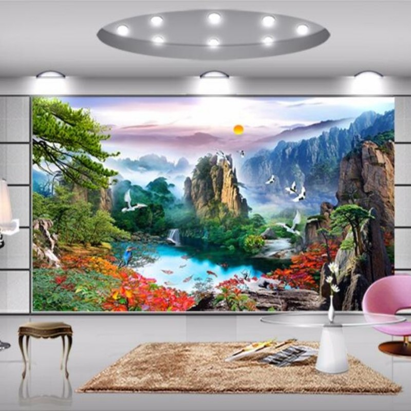 PAPEL de parede large mural wallpaper mountain sunrise landscape design living room TV background wallpaper 3D landscape<br><br>Aliexpress