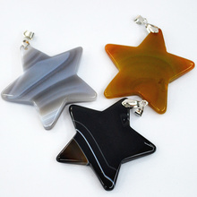 Wholesale lot 2017 Assorted fashion Five-pointed star natural druzy agates stone pendants charms for diy jewelry making 5pcs