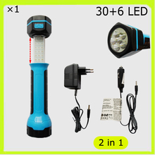 NEW cordless 30+6 LED work lamp flash light torch telescoped rechargeable battery cigarette plug car roadside garage used