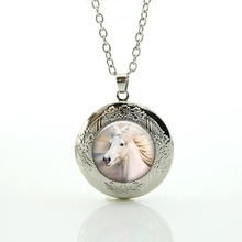 White Horse locket Necklace Wholesale HORSE Unicorn animal Pendant happy New Year Jewelry high quality men women gifts N560