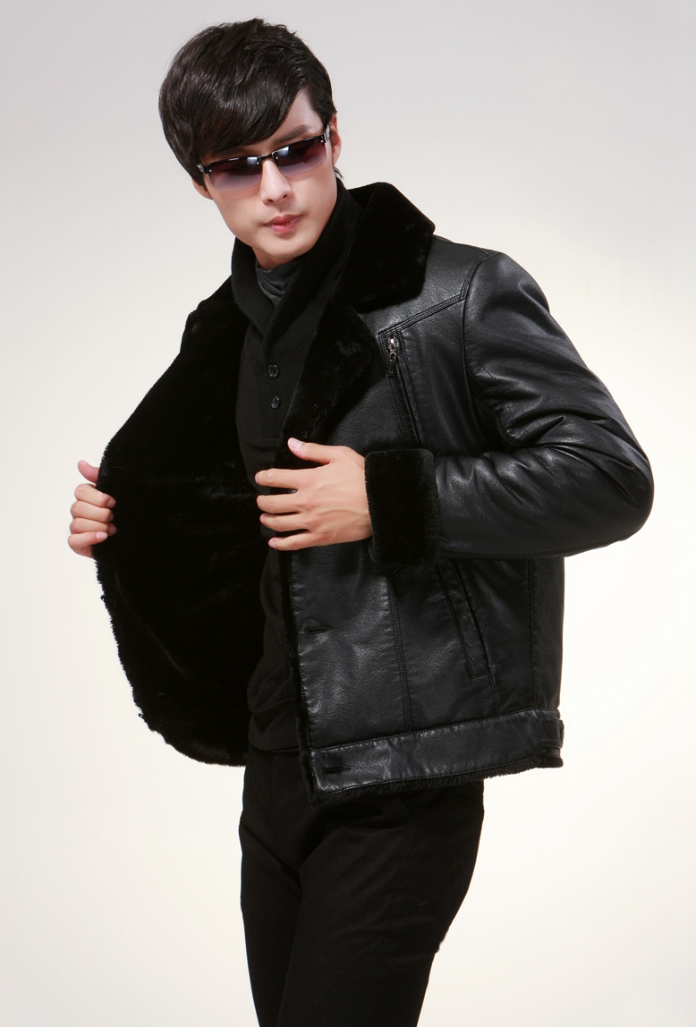 Faux Fur Collar Male Faux Leather Coat Casual Single Breasted Slim Warm Winter Faux Leather Jackets Black Outerwear CT03