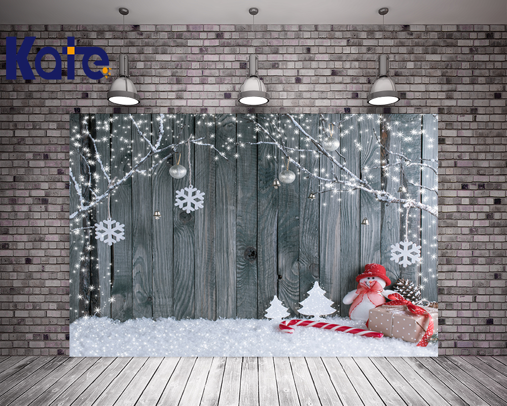 Kate Wood Photography Background Christmas Theme Snowman Photographic Backdrops For Children Washable Studio Photo Props <br>