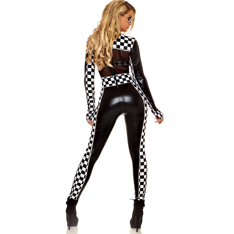 Adult Sports Halloween Costume For Womens Sports Jumpsuit Female Roleplay Costume Sexy Full Body Long Sleeve Racing Girl Catsuit (2)
