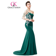 Grace Karin Asymmetrical Long Sleeve Evening Dress Appliques Lace Special Occasion Gowns Dark Green Mermaid Evening Dresses 2017(China)