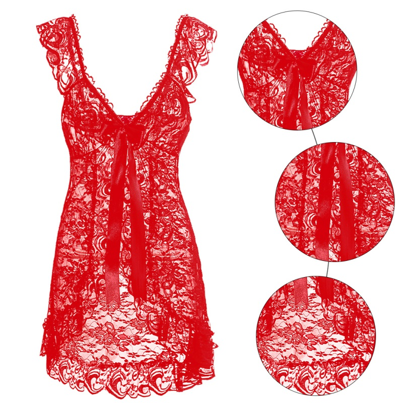 Women Sexy Lingerie Front Open Sleepwear Sets Plus Size Europe and America style sexy lace perspective dress + T pants 12