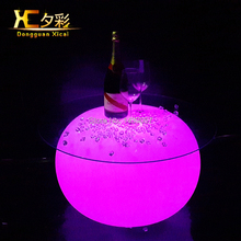 Round LED Coffee Table Illuminated Tea End Tables Decorative Home Furniture For Bar Club Living Room Party Hotel Resturant