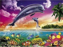 diy diamond painting Marine landscape dolphins embroidery Resin rhinestone 5d cross stitch square Mosaic diamond picture