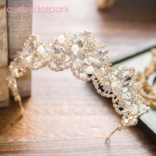 rosebridalpark bridal hair accessories gold wedding tiaras and crowns headband crystal crown party princess rhinestone tiara 825