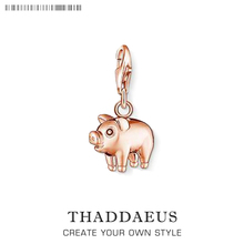 New Factory Wholesale Jewelry Rose Gold Pig Charms Pendant Fit Thomas Style Bracelet ,Necklace,Bag,Key Chain