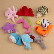 Yoner 10Pc Cute Soft Ocean Animal Puppet toys Baby Girls Boys Finger Puppet Plush Toy Finger toy Finger puppets(China)