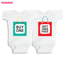 Twins Baby Bodysuits clothes Christmas Gift Buy one Get one free Baby Boy Girl Clothes Cute Baby Twins matching outfits0-12M(China)