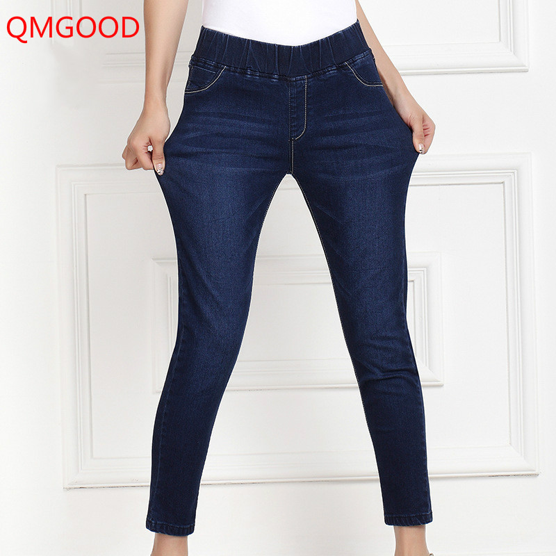QMGOOD 2017 Fashion Elastic Jeans for Women Large Size Stretch Waist Denim Pencil Pants Ladies Classic Cowboy Pants Navy Blue