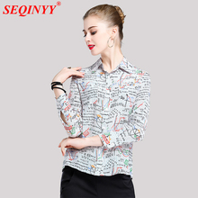 Buy Novelty Print Silk Women Shirt 2018 Spring Fashion Cute Math Geometric Print Full Sleeve Turn-Down Collar Casual Cultivate Shirt for $48.45 in AliExpress store