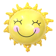 New 65*65cm Cute Smile Face Sunflower Balloon Baby Shower Foil Golden Balloon Party/birthday/wedding Decoration JK0314