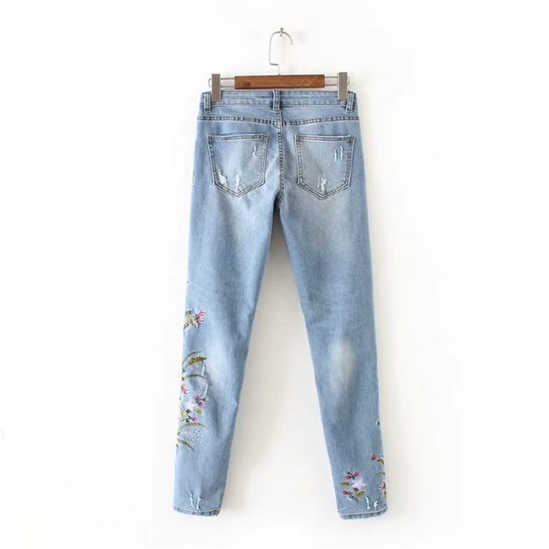 MORUANCLE Fashion Womens Embroidered Floral Jeans High waist Riped Denim Pants For Female Distrwessed Flower Embroidery Trousers