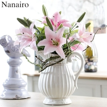 1pcs 3-Fork 36CM Silk Artificial Lily Flower Bouquet For Wedding Decoration Wreath Plant Table Arrangement Cheap Fake Flowers