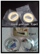 [Mix]Free shipping 4pcs/lot titanic silver bullion coin+elizabeth II silver coin+titanic gold bullion bar