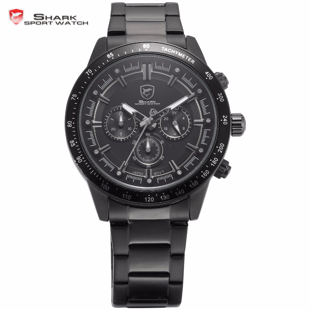 Generation Shark Sport Watches 3D Analog Full Black Stainless Steel Band Stopwatch Quartz water resistant Outdoor Watch / SH285<br><br>Aliexpress