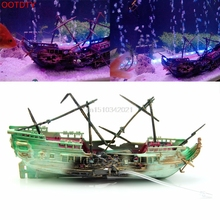 1pc Aquarium Ornament Wreck Boat Sunk Ship Air Split Shipwreck Fish Tank Cave Decor(China)