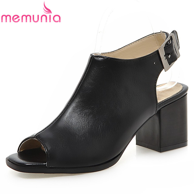 MEMUNIA2017 new arrive summer high heels shoes fashion buckle peep toe  women sandals elegant street style big size 34-43<br>