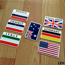 GR-F2 3D Aluminum car Flag sticker accessories For Russia Germany France Italy Australia US accessories car styling