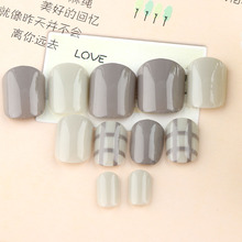24PCs/Box Fashion Style Women Ladies French 3D Matte Art Fake Short False Nails Full Tips Sticker With Glue Short False Nails