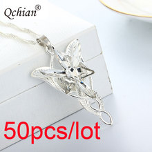 50pcs/lot The Lord of the Ring Arwen Evenstar Pendent Movie Jewelry Crystal Twilight Star Silver Pendent Torque