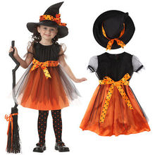Toddler Girl Bowknot Halloween Childrens Fancy Dress Hat Costume Kids Girl Halloween Dress Up Cosplay Outfits(China)