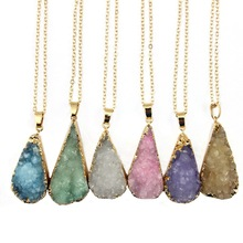 2016 New Arrival Amethyst Druzy Drusy Quartz Necklace Gold Filled Chain Natural Stone Teardrop Pendant Necklace