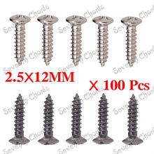 100 Pcs Electric Bass Guitar Pickguard Screws BackPlate Jack Plate Truss Rod Cover Mounting screws - 2.5*12MM