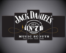 5 Piece Wall Art HD Printed JACK DANIELS Drink Painting Headset Movie Poster Grey Wall Art Picture Canvas Print For Room Decor(China)