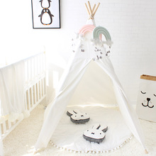 Four Poles Kids Play Tent Cotton Canvas Teepee Children Toy Tent White Pink Blue Playhouse for Baby Room Tipi(China)