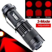 Mini Waterproof LED Tactical Flashlight 300 Lumens Zoomable Red Light LED 3 Modes Flashlight Torch Lamp For AA/14500(China)