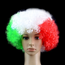 Italy Flag green white Red Color Wigs Football Fans Headgear Festival Carnival Props Party Supplies Christmas Halloween Cosplay