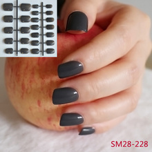 24pcs Grandma Gey Black False Nails Candy Deep Color Acrylic Nails Tips N228(China)