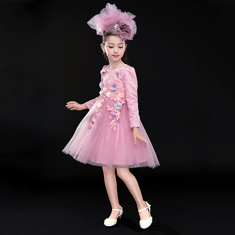 2017 Spring Autumn Pink Girl Dress Party Christmas Girl Party Costume For 4 6 8 10 12 14Year Old Girls Clothes RKF174052<br>