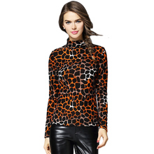 Fashion Autumn Winter Blusa Women Turtleneck Warm Cashmere T-shirt Tops 2017 Casual Slim Leopard T Shirt For Women Tops CS812(China)