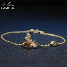 LAMOON Honey Bee Peridot Natural Oval Citrine 925 Sterling Silver Jewelry Gold Chain Charm Bracelet Fine Jewellery