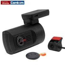 Conkim Dash Cam Mini 0906 Dual Lens 1080P Full HD DVR Car Camera Auto Registrar GPS Black Box Super Capacitor 24H Parking Guard(China)