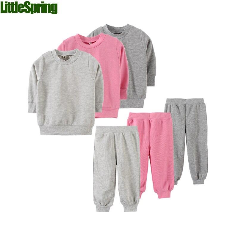 LittleSpring 2017 spring autumn children clothing set boys girls long sleeve 100% cotton sport suit unisex solid kids tracksuit<br><br>Aliexpress