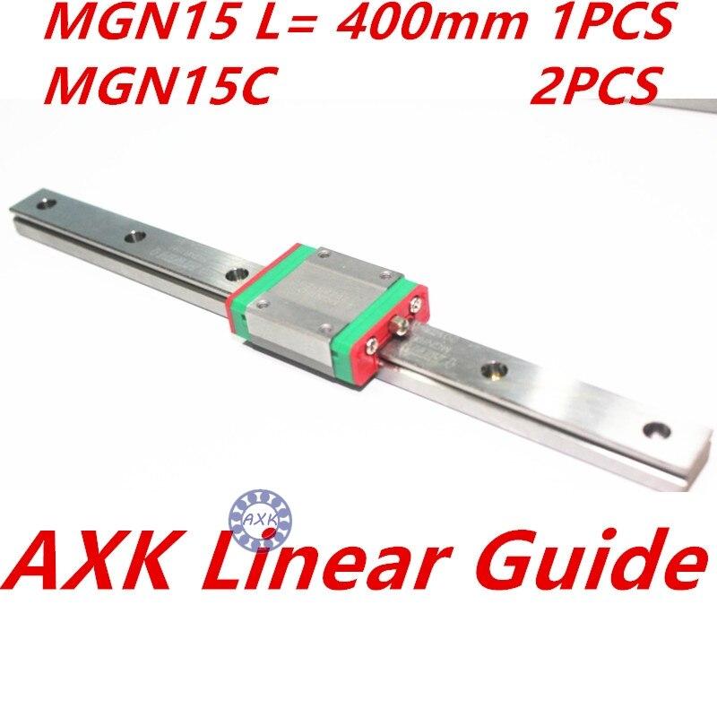 1pc 15mm width 400mm MGN15 linear guide rail +  2pc MGN MGN15C Blocks carriage CNC<br>