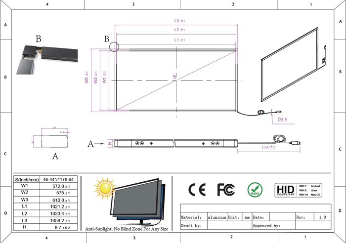 46 inch multi touch frame overlay