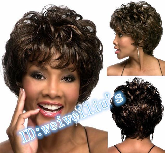 New 2015 shag style african American synthetic wigs Short Curly full Wigs Heat Resistant for women Free Shipping<br><br>Aliexpress