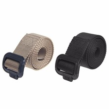 Mens Womens Nylon Canvas Military Web Belt Waistband Solid Black Buckle New
