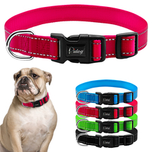 Nylon Reflective Dog Collars Night Safe Collar With Metal D Ring Design And Plastic Adjustable Buckle For Large Pet  Blue Red