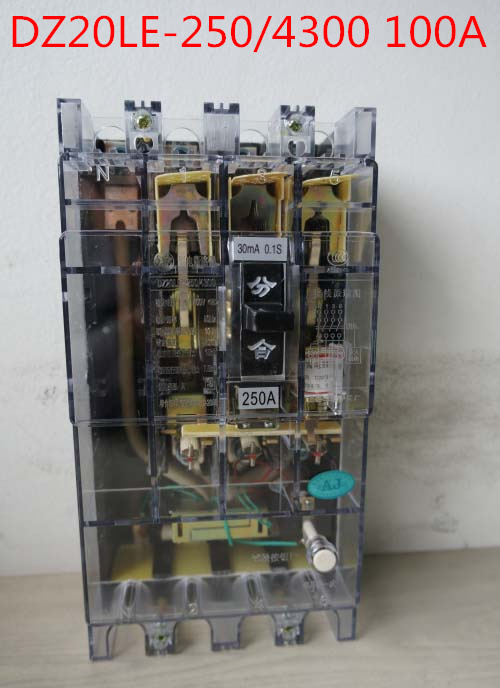 Transparent shell Three phase four wire 4P earth leakage circuit breaker DZ20LE-250/4300 100A<br>
